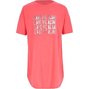 Roze nachtpon met 'leave me alone'-print voor meisjes
