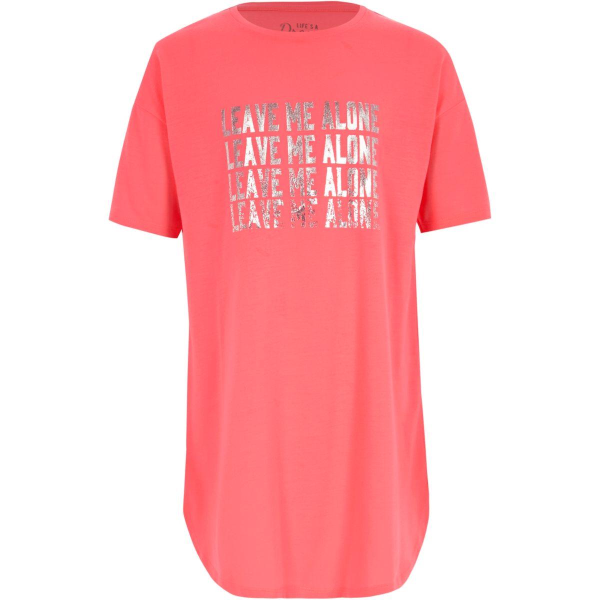 Girls pink 'leave me alone' night dress