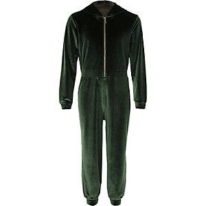 Girls khaki studded velour lounge jumpsuit