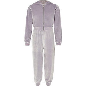 Girls lilac velour hooded heatseal jumpsuit