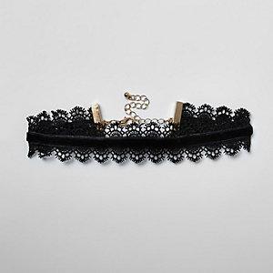 Zwarte fluwelen chokerketting met kanten rand voor meisjes
