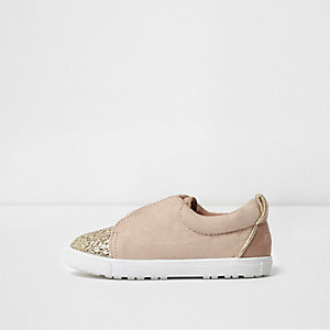 Mini girls pink glitter slip on plimsolls