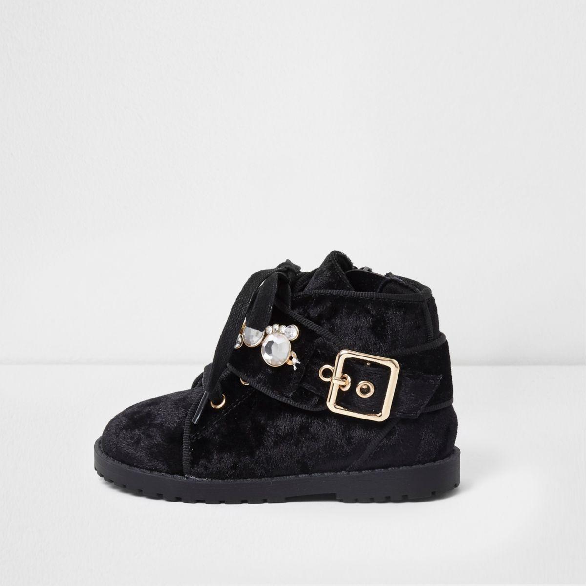 Mini girls black velvet faux pearl boots