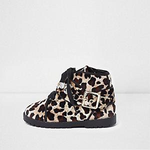 Bottines en velours imprimé léopard marron mini fille