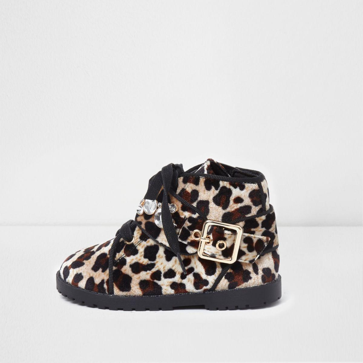 Mini girls brown leopard velvet boots