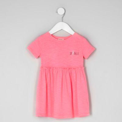 Mini Roze sparkle jurk met korte mouwen voor meisjes