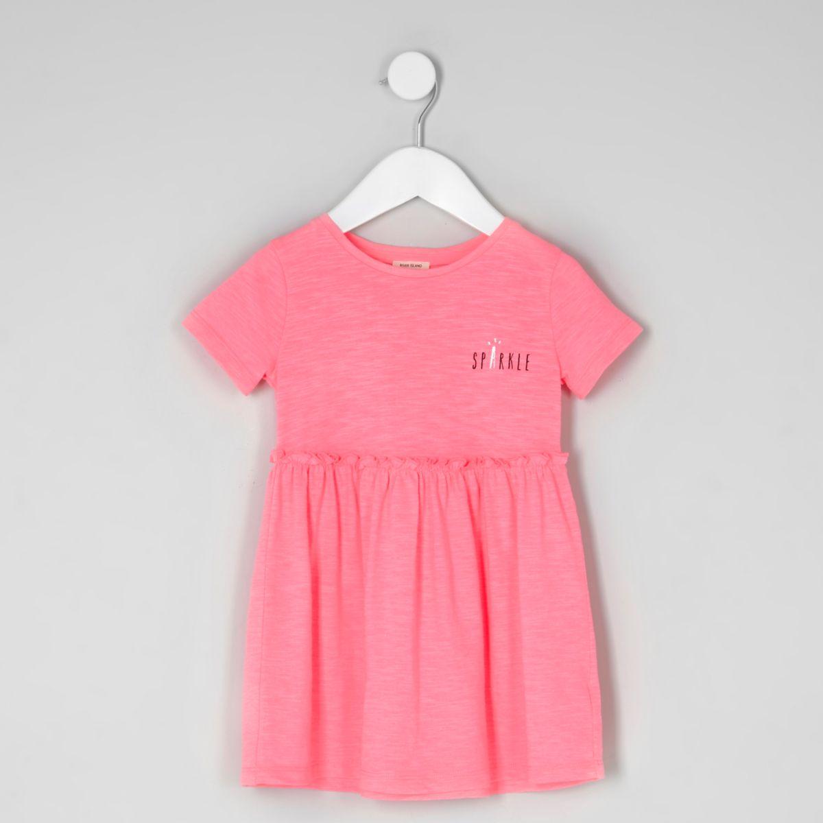 Mini girls pink 'sparkle' short sleeve dress