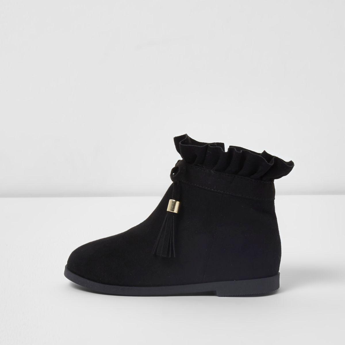 Mini girls black ruffle top tassel boots