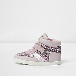 Mini girls pink glitter hi top trainers