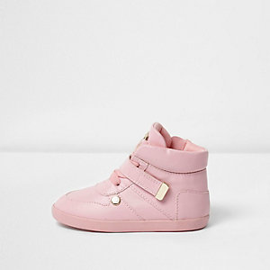 Mini girls pink velcro strap hi top trainers