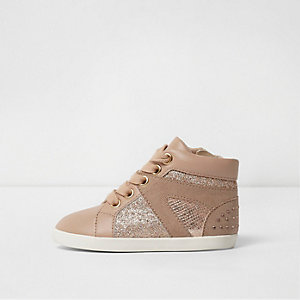 Mini girls pink glitter stud hi top trainers
