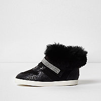 Mini girls black faux fur hi top trainers