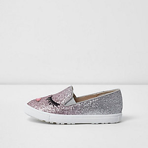 Mini girls silver glitter eyelash plimsolls