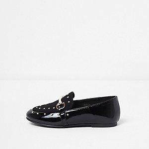 Mini girls black studded snaffle loafers