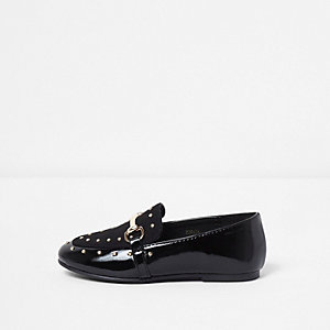 Mini girls black studded snaffle loafers