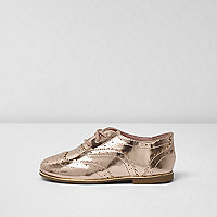 Mini girls metallic gold brogues