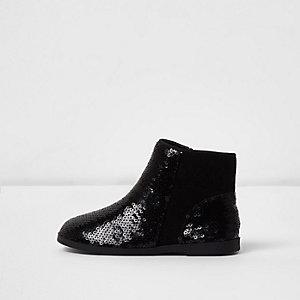 Schwarze Chelsea-Stiefel mit Pailletten