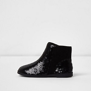 Bottines Chelsea noires à sequins mini fille