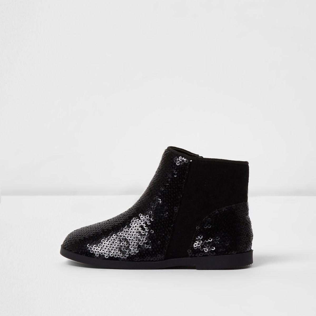 Mini girls black sequin chelsea boots