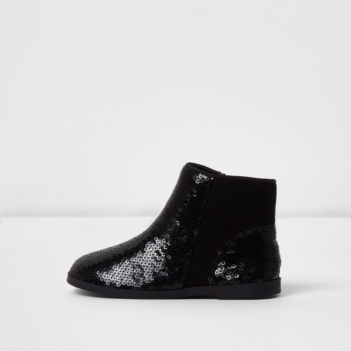 Mini girls black sequin chelsea boots
