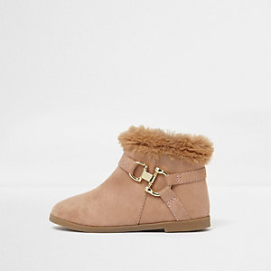 Mini girls camel faux fur top boots