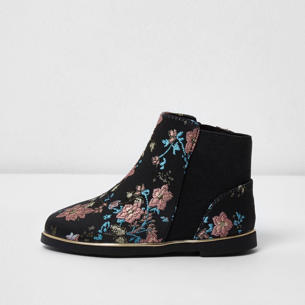 Mini girls black jacquard chelsea boots