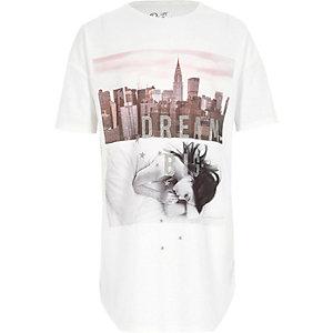 Chemise de nuit «dream big» blanche à paillettes pour fille