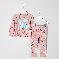 Mini girls pink unicorn pajama set