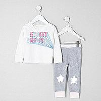 Mini girls grey 'sweet dreams' print pyjamas