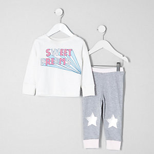Mini girls grey 'sweet dreams' print pyjamas