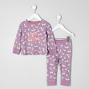 Mini girls purple 'nap queen' pyjama set