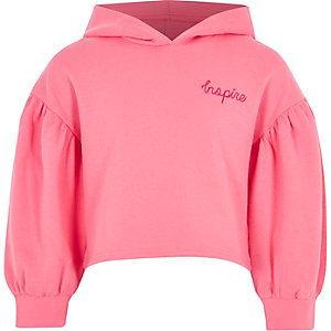 Girls pink puff sleeve cropped sweatshirt