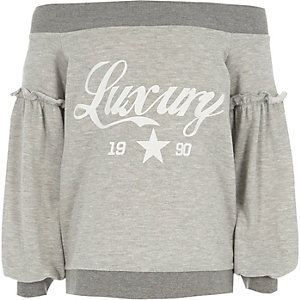Girls grey 'luxury' print bardot sweatshirt
