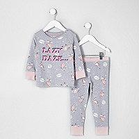 Mini girls grey 'lazy daze' print pyjama set