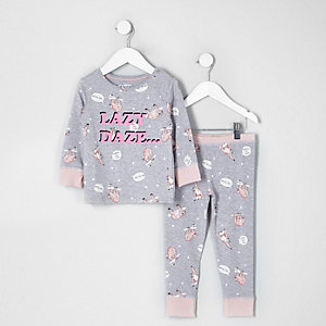 Mini girls grey 'lazy daze' print pyjama set