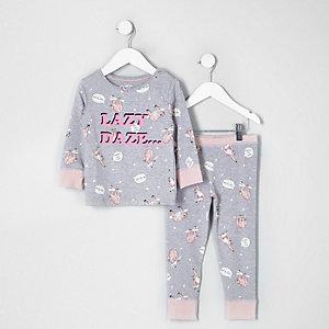 Mini - Grijze pyjamaset met 'lazy daze'-print voor meisjes