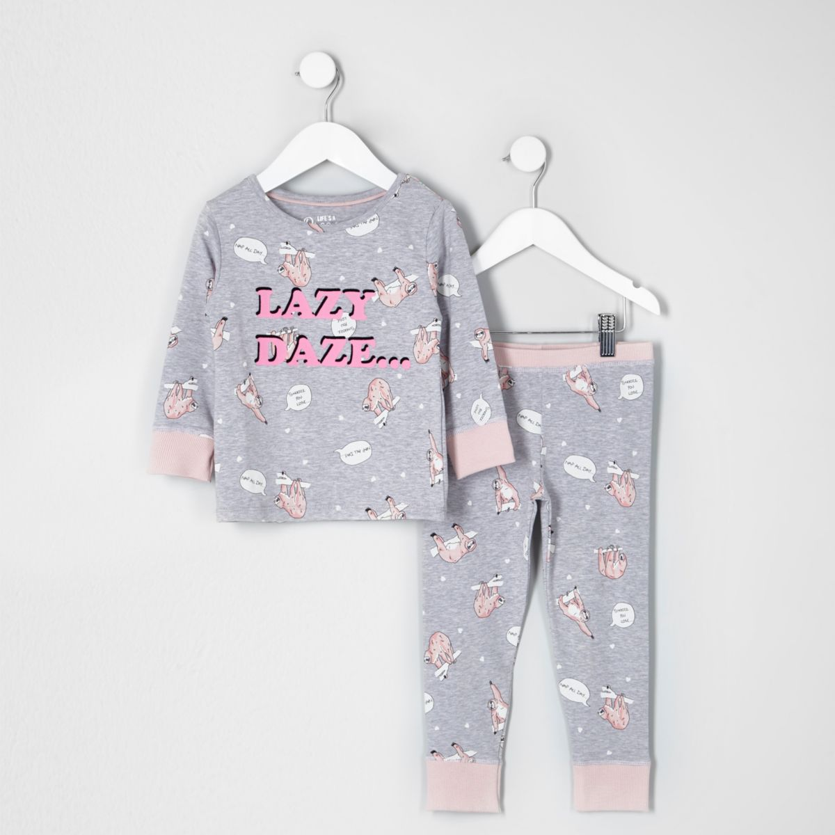 Mini girls grey 'lazy daze' print pajama set