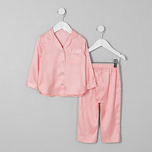 Mini girls pink jacquard satin pyjama set