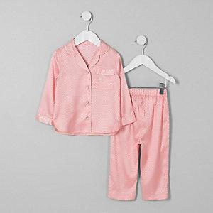 Mini - Roze jacquard satijnen pyjamaset voor meisjes