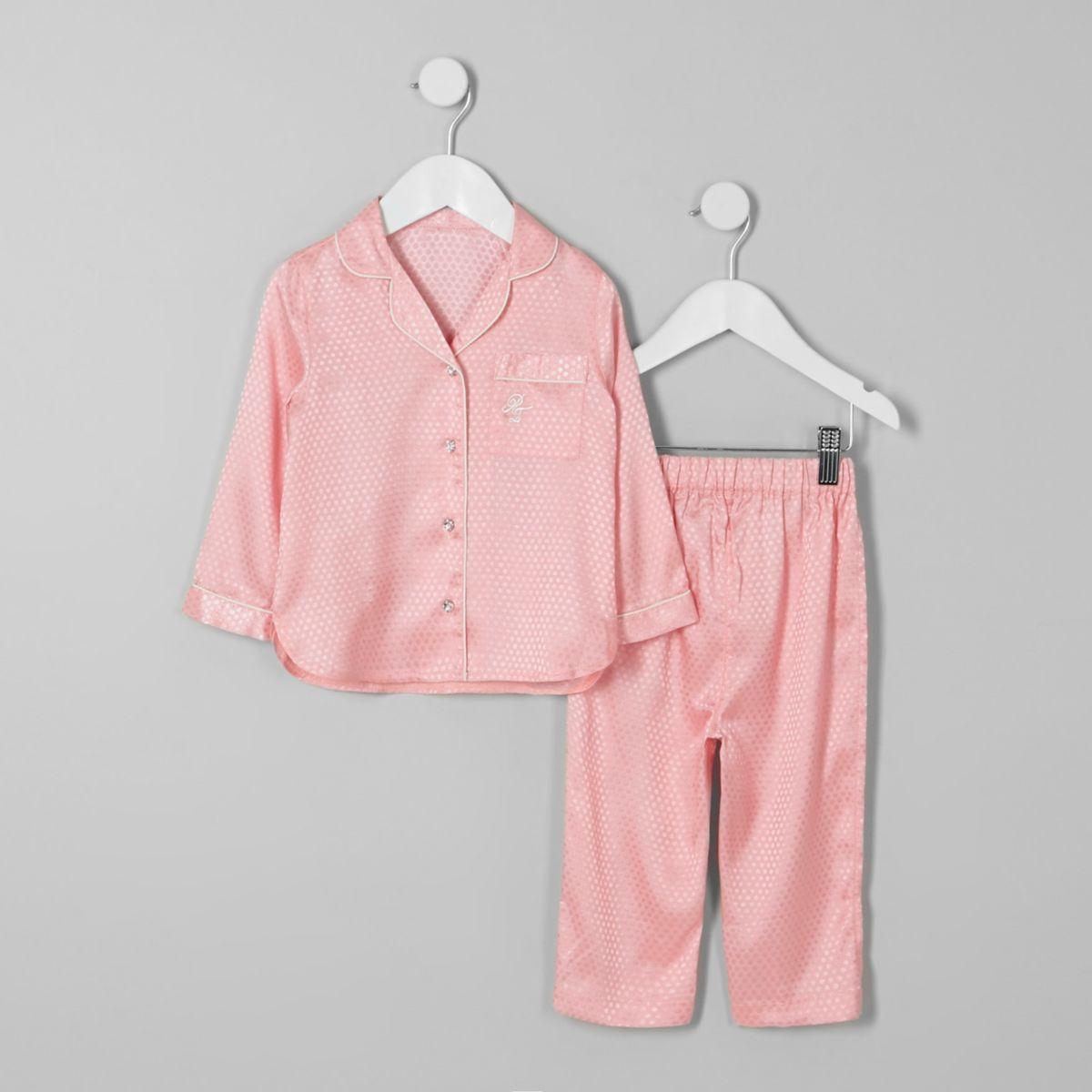 Mini girls pink jacquard satin pyjama set