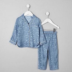 Mini - Blauwe satijnen pyjamaset met planeten voor meisjes