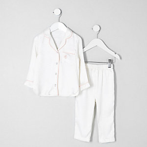 Mini girls cream jacquard shirt pyjama set