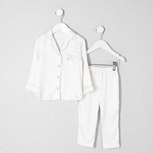 Mini - Crème pyjamaset met jacquard top voor meisjes