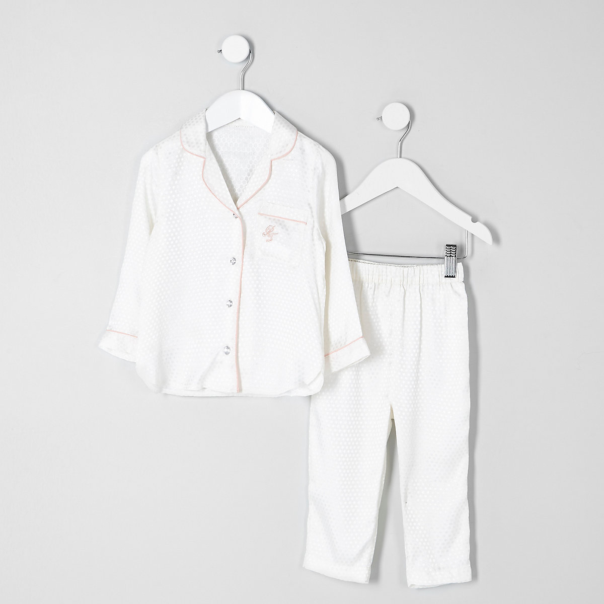 Mini girls cream jacquard shirt pyjama set