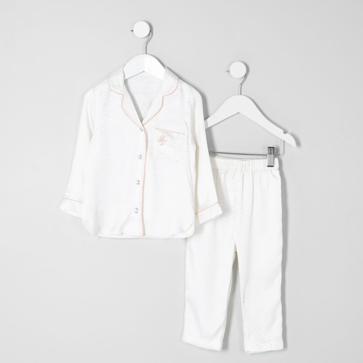 Pyjama mit Jacquard-Hemd in Creme