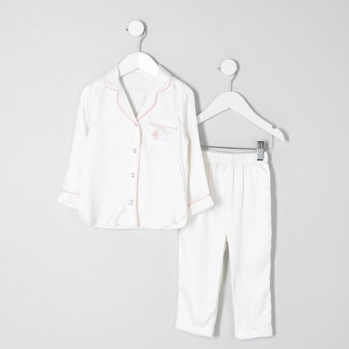 Pyjama crème chemise jacquard mini fille