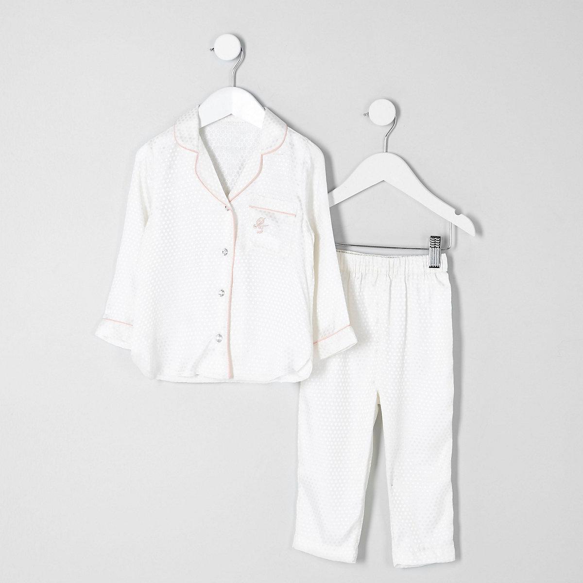 Mini girls cream jacquard shirt pajama set