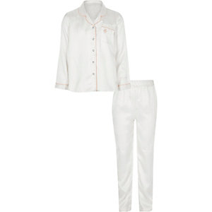 Girls cream polka dot satin pyjama set