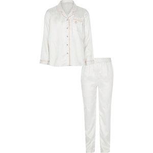 Crème satijnen pyjamaset met stippen voor meisjes