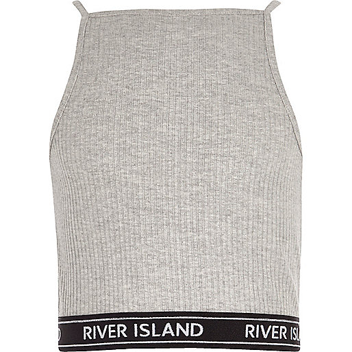 Girls grey ribbed 90s style crop top